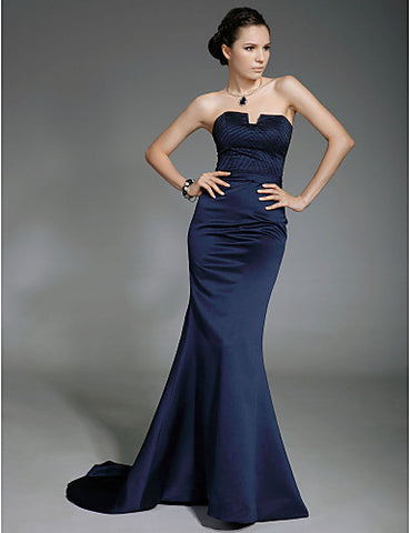 Trumpet/Mermaid Strapless Sweep/Brush Train Satin Evening Dress inspired by Lisa Rinna