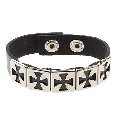 Square Cross White Leather Bracelet