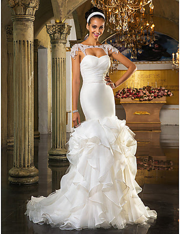 Wedding Dress Fit and Flare Sweep Brush Train Tulle and Organza Sweetheart With Cascading Ruffles