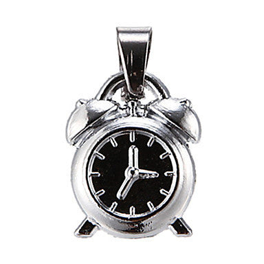 Exquisite High Quality Shining Silver Small Alarm Clock Pendant(1 Piece)