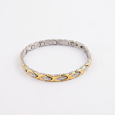 Fashion Eye Shape Men's Health Magnet Titanium Steel Diamonte Bracelets