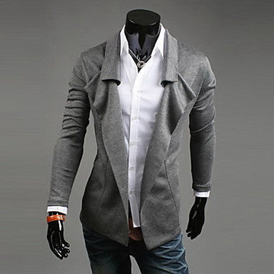 Men's Solid Color Single Breasted Coat