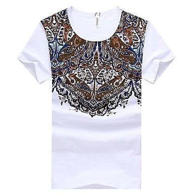Men's Round Collar Casual Cotton T-Shirt