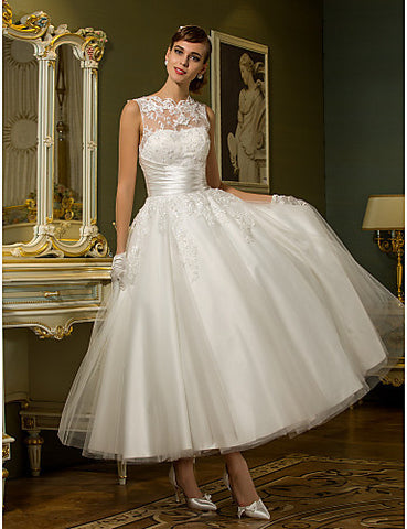 Wedding Dress A Line Ankle Length Tulle Jewel Bridal Gown With Beading Appliques