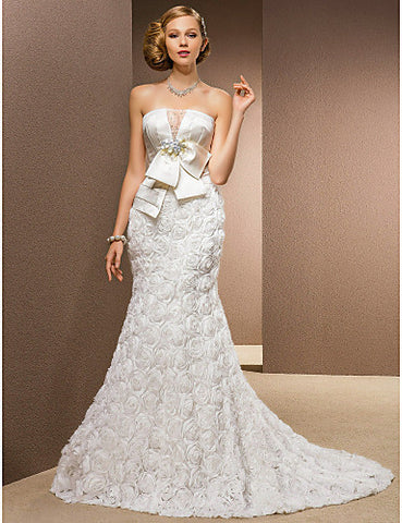 Trumpet/Mermaid Princess Strapless Chapel Train Chiffon And Stretch Satin Wedding Dress