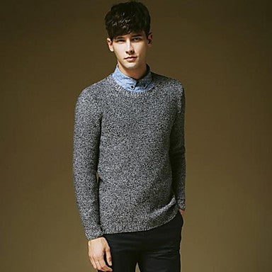 Men's Round Collar Solid Color Sweater