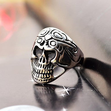 Men's Cast Metal Skull Stainless Steel Ring
