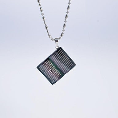 Classic Men's Titanium Steel Scripture Book Pendant Necklace
