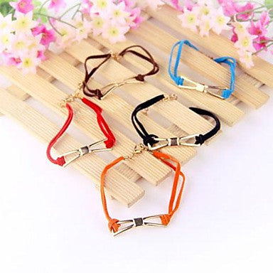 Fashion Leather Cord Preparation Bow Bracelet