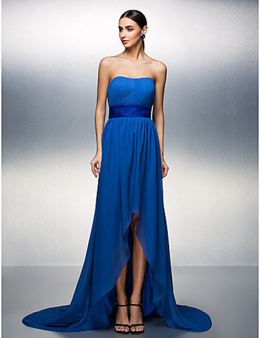A-line Strapless Asymmetrical Chiffon Evening Dress
