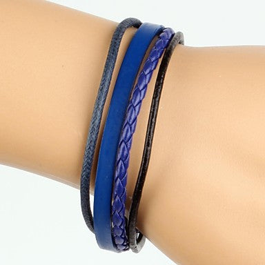 Simple Adjustable Men's Leather Bracelet Very Cool Dark Blue And Black Twist Leather (1 Piece)