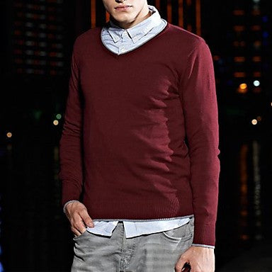 Men's V Neck Slim Pure Color Knitwear Sweater