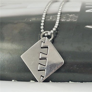 Men's Simple Jigsaw 316L Stainless Steel Pendant Necklace