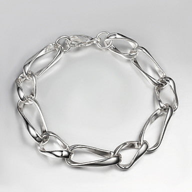 Classic 21cm Men's Silver Silver Plated Chain & Link Bracelet(1 Pc)
