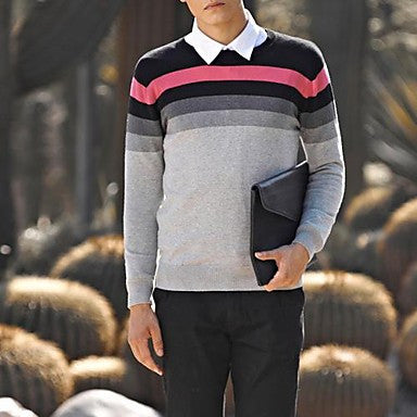 Men's Korean Style Round Collar Splicing Color Knitwear Sweater