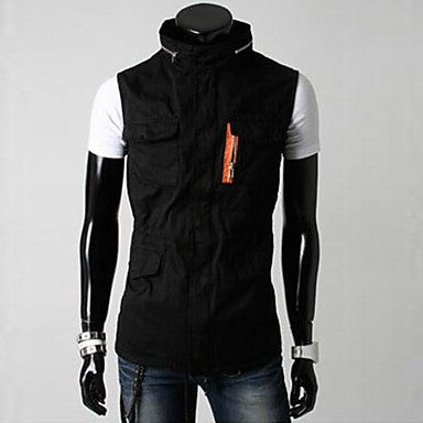 Men's Autumn Korean Cultivating Multi Pocket Design Stand Collar Tooling Vests