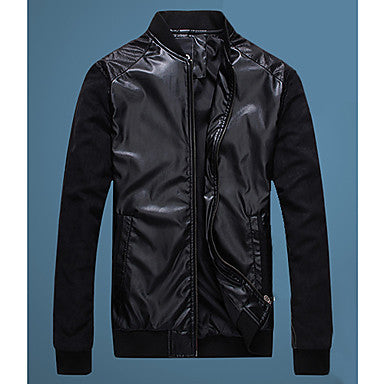 Men's Leather Splicing Short Jacket