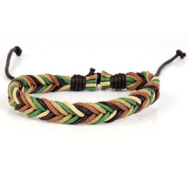 Fashion Braided Bracelet Simple and Comfortable Green Brown Beige (1 Piece)