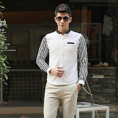 Men's Hot Spring Striped Contrast Color Long Sleeve Shirt