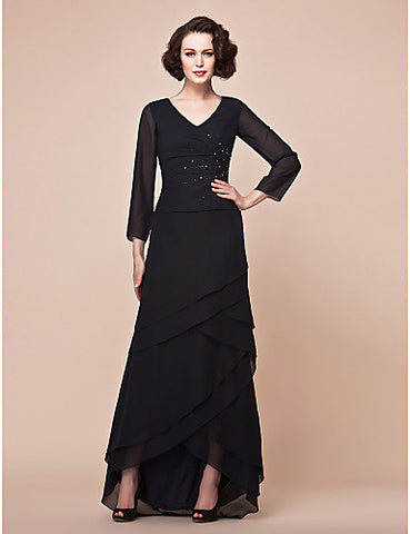 A-line V-neck Asymmetrical Chiffon Mother Of The Bride Dress