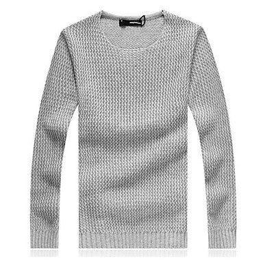 Men's Round Collar Leisure Solid Color Sweater