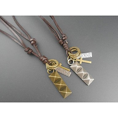 Korea Style Simple Pyramid Leather Pandant Necklace(1pc)