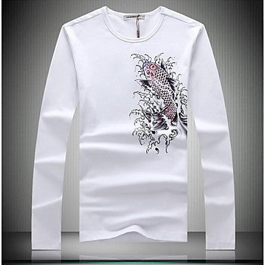 Men's Round Neck Animal Print Long Sleeved T-shirt