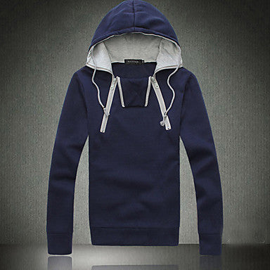 Men's Fleece Pullover Hoodie with Zip Detail