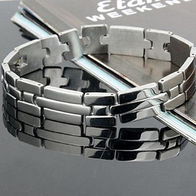 Men's Fashion Personality Titanium Steel Silver Streaking Bracelets