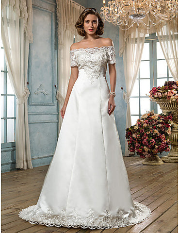 A-line Off-the-shoulder Scalloped-Edge Sweep/Brush Train Satin Wedding Dress (636695)