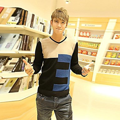 Men's V-neck Color Stitching Sweater