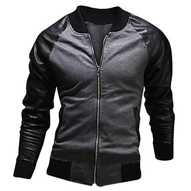 Men's Mock Neck Stitching Casual Jacket