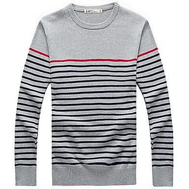 Men's Wear Stripes Round Neck Long Sleeve Sweater