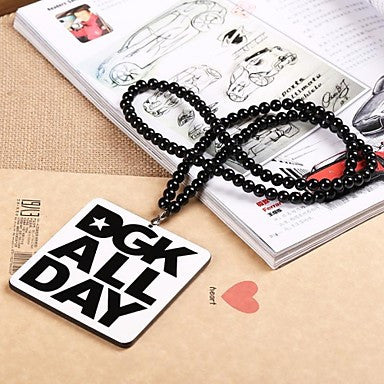 Word DGK ALL DAY Pattern Acrylic Necklace