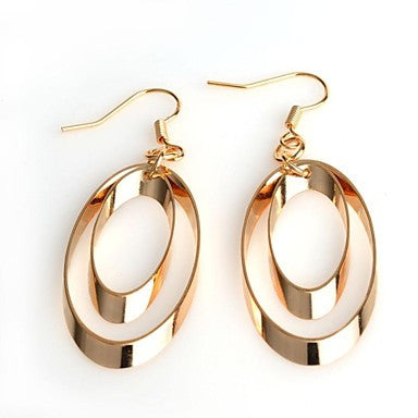 Fashion Hot Double Hollow Cut Oval Golden Metal Stainless Steel Stud Earrings