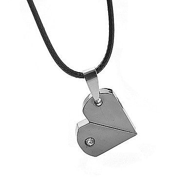 Fashion (Heart Pendant) Black Titanium Steel Pendant Necklace(Black) (1 Pc)
