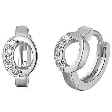 "Gifr for Boyfriend High Quality Silver Plated Letter ""O"" Men's Stud Earrings(1 pr)"