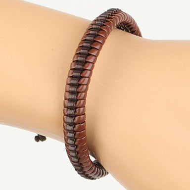 High Fashion Hard Middle Line Leather Bracelet Brown And Black(1 Piece)