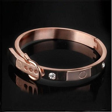 Men's Fashion Personality Titanium Steel Set Diamond Plating Gold Belt Bracelets