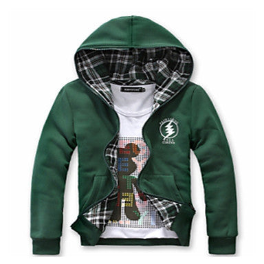 Men's Both Sides To Wear Hoodie Plaids Coat