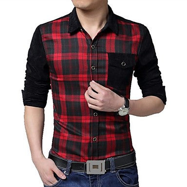 Men's Lapel Casual Plaid Long Sleeved Shirt