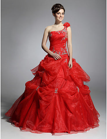 Ball Gown One Shoulder Floor-length Satin Organza Evening/ Prom Dress