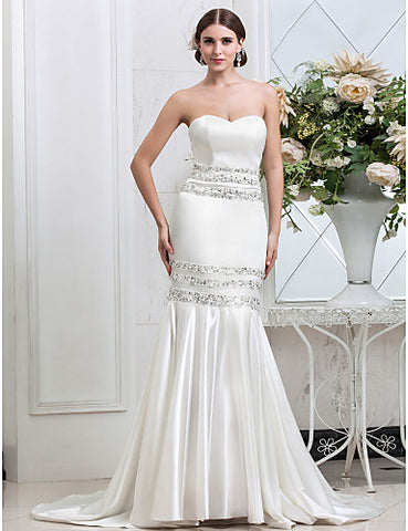 Fit and Flare Sweetheart Court Train Stretch Satin Wedding Dress