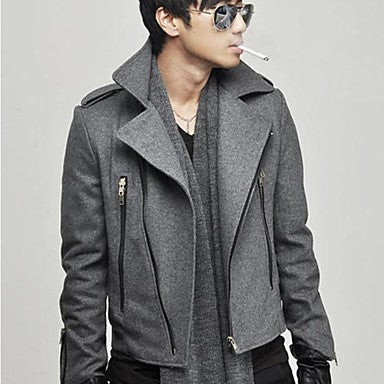 Men's Lapel Zip Shoulder Pad Tweed Coat