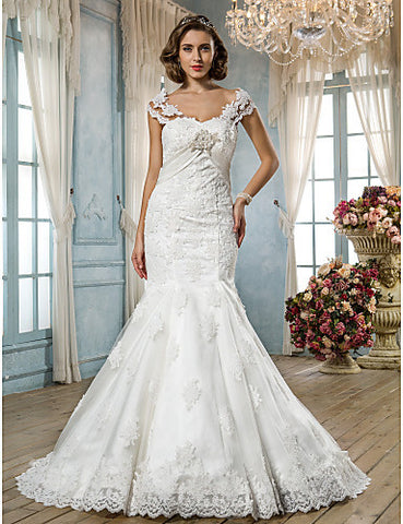 Wedding Dress Trumpet Mermaid Court Train Tulle Lace Sweetheart With Sash and Beading Appliques