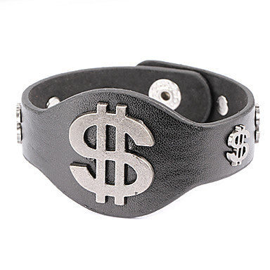 Punk Style Dollar Symbol Alloy Leather Bracelet(1 Pc)