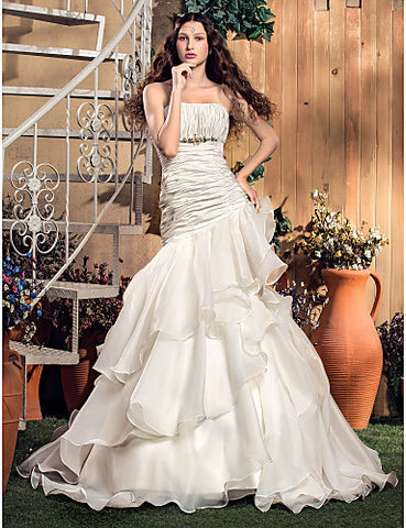 Fit and Flare Strapless Floor-length Organza And Taffeta Wedding Dress