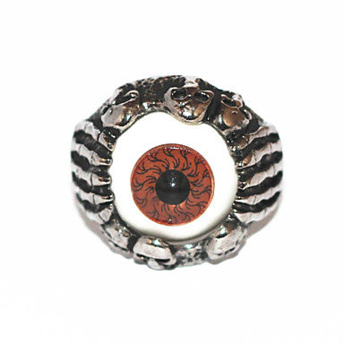 Halloween Grotesque Gothic Skulls Silver Alloy Men's Statement Eye Ring(1 Pc)