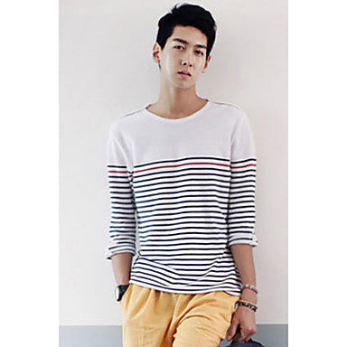 Men's Round Collar Pinstripe T-Shirt