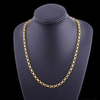 Figaro Chain 60cm Men Golden Gold Plated Chain Necklaces(7mm Width)